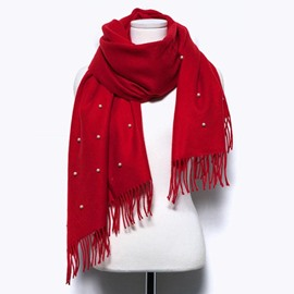 Ericdress Pure Color Cashmere-Like Tassel Imitation Pearl Thicken Scarf