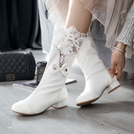 Ericdress Round Toe Block Heel Slip-On Wedding Boots