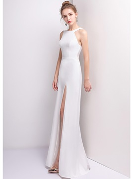 Ericdress A Line Halter Scoop Neck Floor Length Long Evening Dress With Side Slit