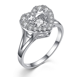 MarkChic Romantic Heart Diamante Wedding Ring