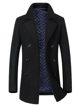 Ericdress Plain Lapel Double-Breasted Vogue Slim Men's Trench Coat