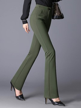 Ericdress Slim High-Waist Thick Plain Women's Elegant Dress Pants