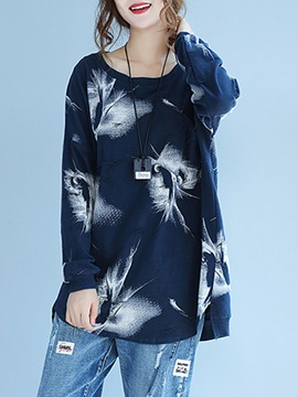 Ericdress Loose Floral Print Mid-Length T-shirt