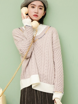 Ericdress Loose Thin Patchwork Knitwear