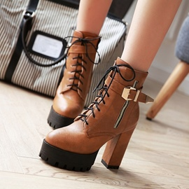 Ericdress Buckle Cross Strap Platform High Heel Boots