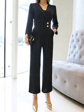 Ericdress Slim Stripe High-Waist Lapel Women's Jumpsuit