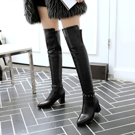 Ericdress All Match Rivet Plain Thigh High Boots