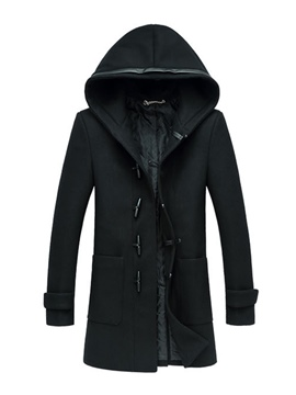 Ericdress Plain Hooded Horn Button Vogue Slim Men's Woolen Coat
