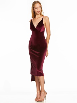 Ericdress Presale V Neck Tea-Length Cocktail Dress