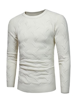 Ericdress Plain Cotton Round Neck Slim Men's Pullover Sweater