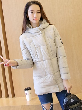 Ericdress Zipper Mid-Length Plain Hooded Coat