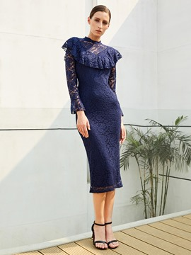 Ericdress Stand Collar Ruffles Patchwork Lace Dress
