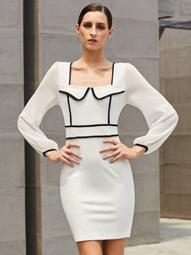Ericdress White Square Neck Color Block Patchwork Bodycon Dress