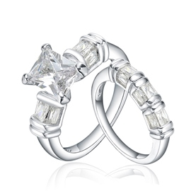 MarkChic High-End Emerald Cut Women's Bridal Set