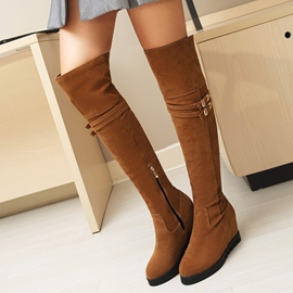 Ericdress Buckle Round Toe Plain Knee High Boots