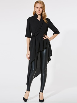 Ericdress Asymmetric Ruffles Plain Half Sleeve Blouse
