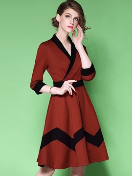 Ericdress V-Neck Geometric Pattern 3/4 Length Sleeves A Line Dress