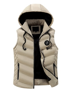Ericdress Plain Cotton Zip Thicken Warm Slim Men's Vest