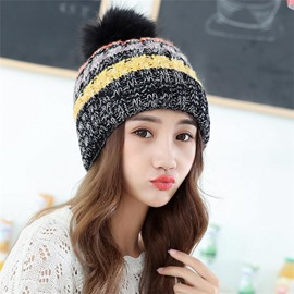 Ericdress Wool Thicken Contrast Color Knitting Fashion Hat for Women