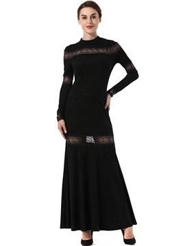 Ericdress Hollow Lace Expansion Fall Maxi Dress