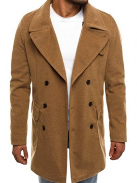 Ericdress Plain Lapel Double-Breasted Vogue Slim Men's Woolen Coat