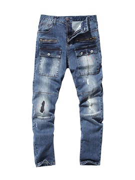 Ericdress Plain Zipper Hole Men's Denim Pants