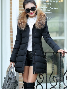Ericdress Plain Zipper Mid-Length Hooded Down Coat