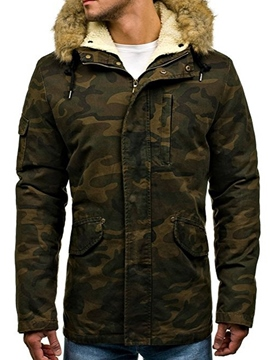 Ericdress Camouflage Zip Thicken Warm Men's Winter Coat