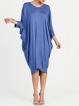 Ericdress Batwing Sleeve Pleated Fall Casual Dress