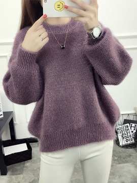 Ericdress Plain Loose Thick Sweater