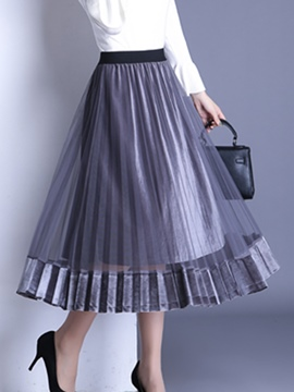 Ericdress Tulle Pleated Mid-Calf High-Waist Women's Skirt