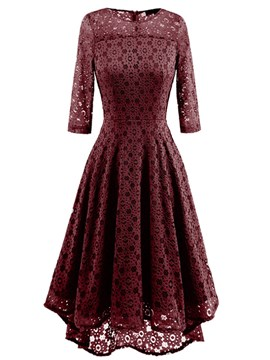 Ericdress Plain Hollow 3/4 Length Sleeves Lace A Line Dress