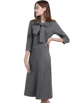 Ericdress Bow Collar 3/4 Length Sleeves A-Line Dress