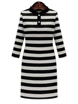 Ericdress Stripe 3/4 Length Sleeves Button Bodycon Dress