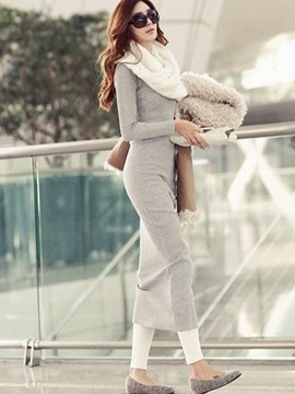 Ericdress V-Neck Long Sleeves Plain Thread Sweater Maxi Dress