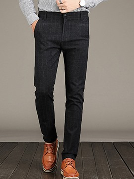 Ericdress Plain Plaid Zipper Casual Slim Men's Pants