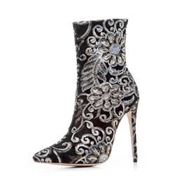Ericdress Fashion Embroidery Pointed Toe High Heel Boots