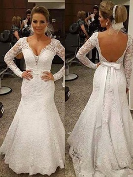 Mermaid V-Neck Long Sleeves Outdoor Wedding Dress
