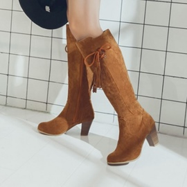 Ericdress Tassel Lace-Up Chunky Heel Knee High Boots