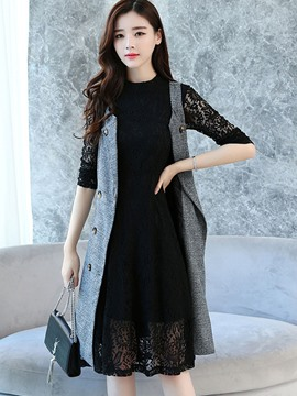 Ericdress Knee-Length Dress and Sleevesless Trench Coat Women's Suit
