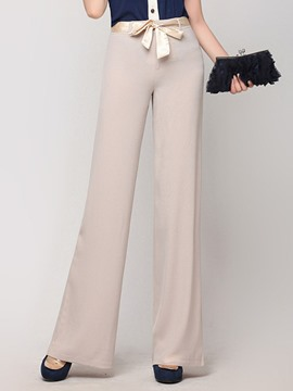 Ericdress Wide Leg Lace-Up Women's Dress Pants