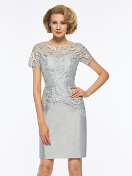 060c9f09329 Ericdress Scoop Short Sleeves Sheath Knee Length Mother of The Bride Dress