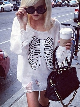 Ericdress Loose Thin Halloween Skull Knitwear