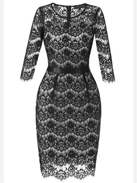 Ericdress Hollow Lace Pencil Bodycon Dress