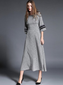 Ericdress Stipe Patchwork Pocket 3/4 Length Sleeves Maxi Dress