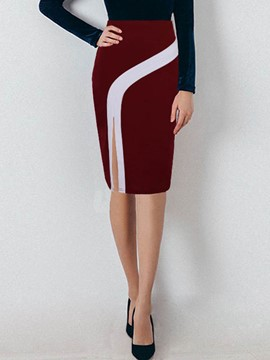 EricdressKnee-Length High-Waist Color Block Asymmetric Women's Skirt