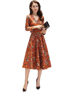 Ericdress Floral Print V-Neck Nine Points Sleeves A-Line Dress