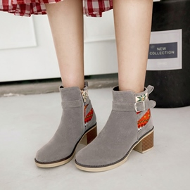 Ericdress Buckle Patchwork Chunky Heel Ankle Boots