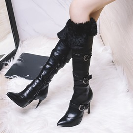 Ericdress Fashion Fuzzy Buckle Plain Knee High Boots