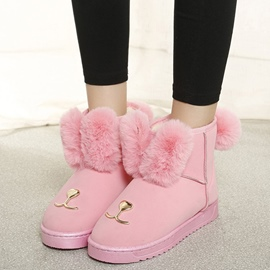 Ericdress Adorable Pompon Sequin Plain Snow Boots